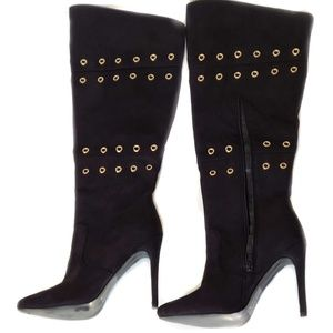 """Black 4.5"""" Stiletto Boots Gold Grommets Knee Boots"""